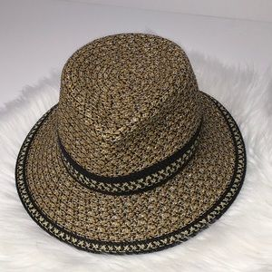 Eric Javits Ferdora Sun Hat spf 50 black straw